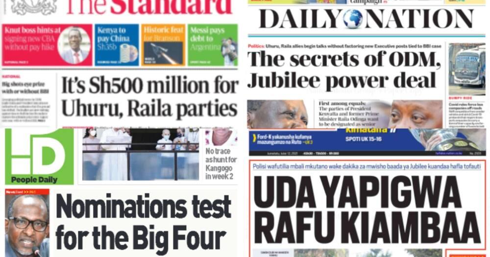 Magazeti Jumatatu, Julai 12: ODM, Jubilee Watuzwa Ksh12 milioni na