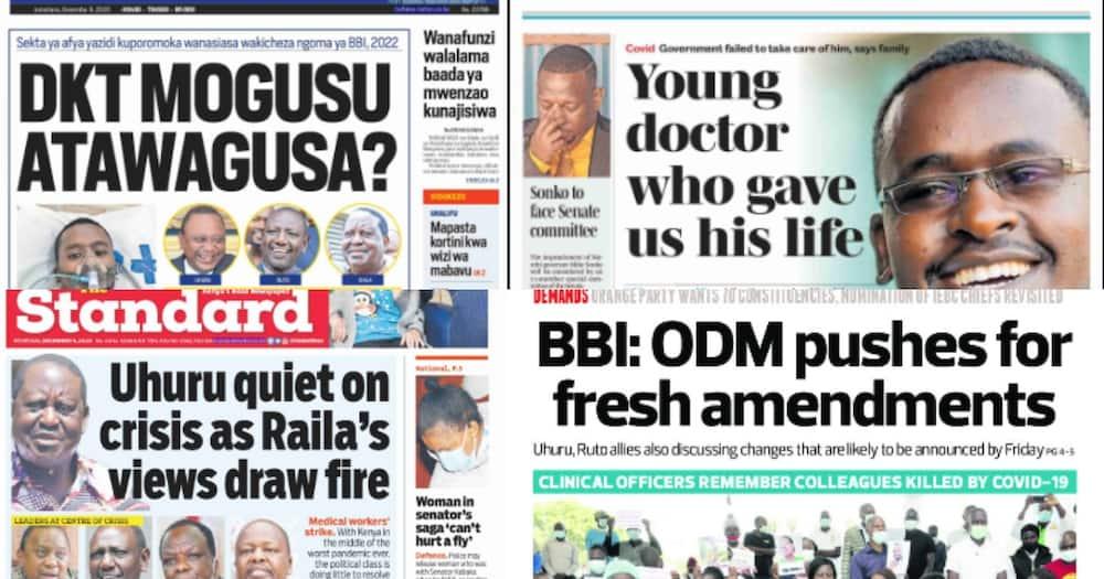 Kenyan newspaper review for December 9: Uhuru quiet on health workers' plight