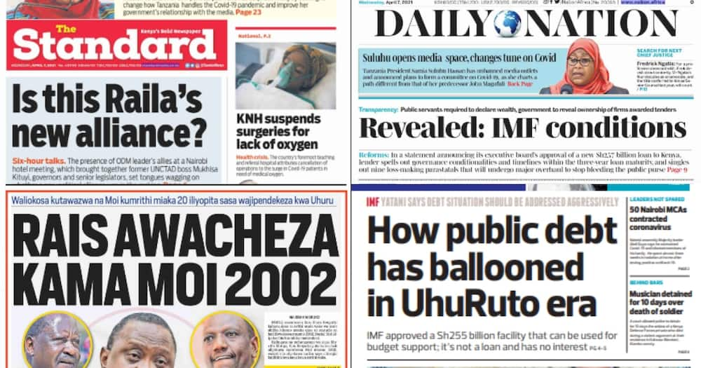 Newspapers review for April 7: Uhuru Uses Daniel Moi's 2002 Tactics to Keep Political Big Wigs Under Control