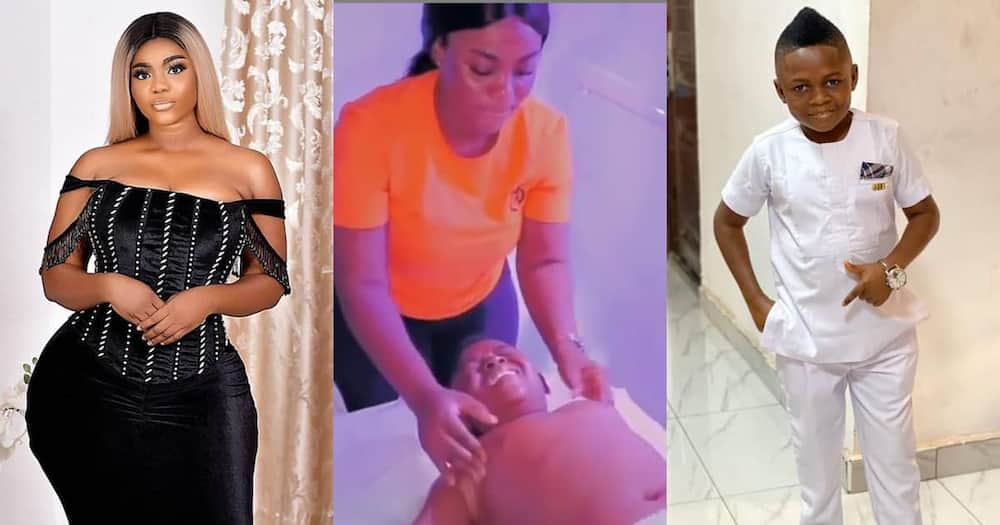 Vivian Okyere massaged Yaw Dabo.