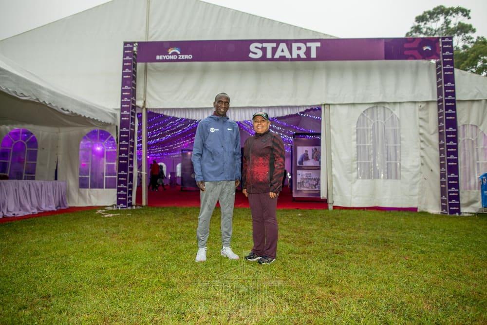 First Lady Margaret Kenyatta trains alongside Eliud Kipchoge ahead of Beyond Zero Half Marathon