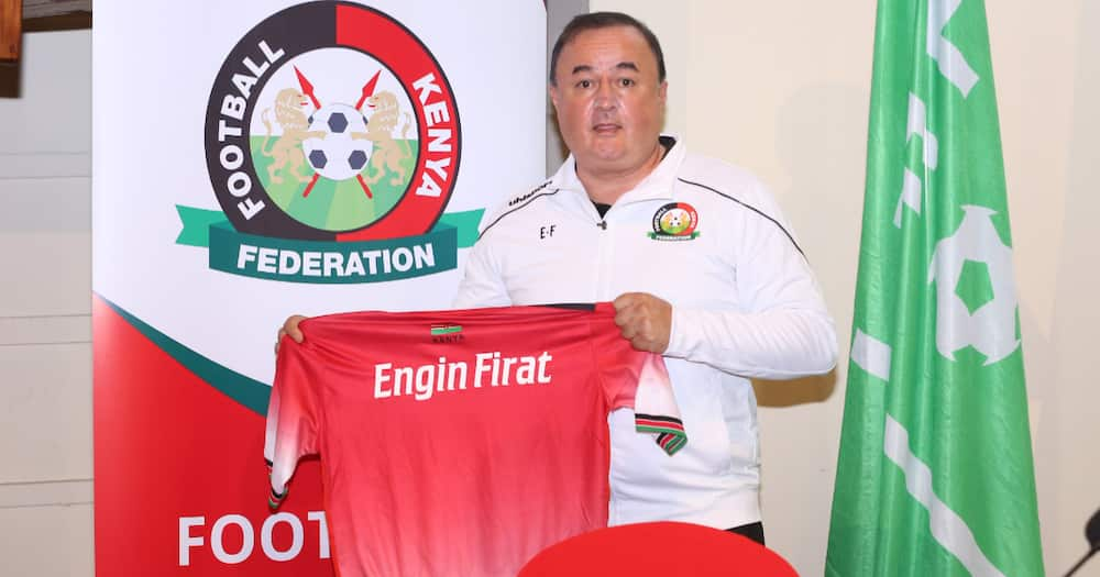 Engin Firat during his official unveiling as Harambee Stars coach. Photo: Twitter/Football Kenya Federation.