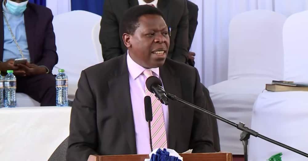 Eugene Wamalwa reads Uhuru's speech at Hannah Mudavadi's requiem service attended by Ruto