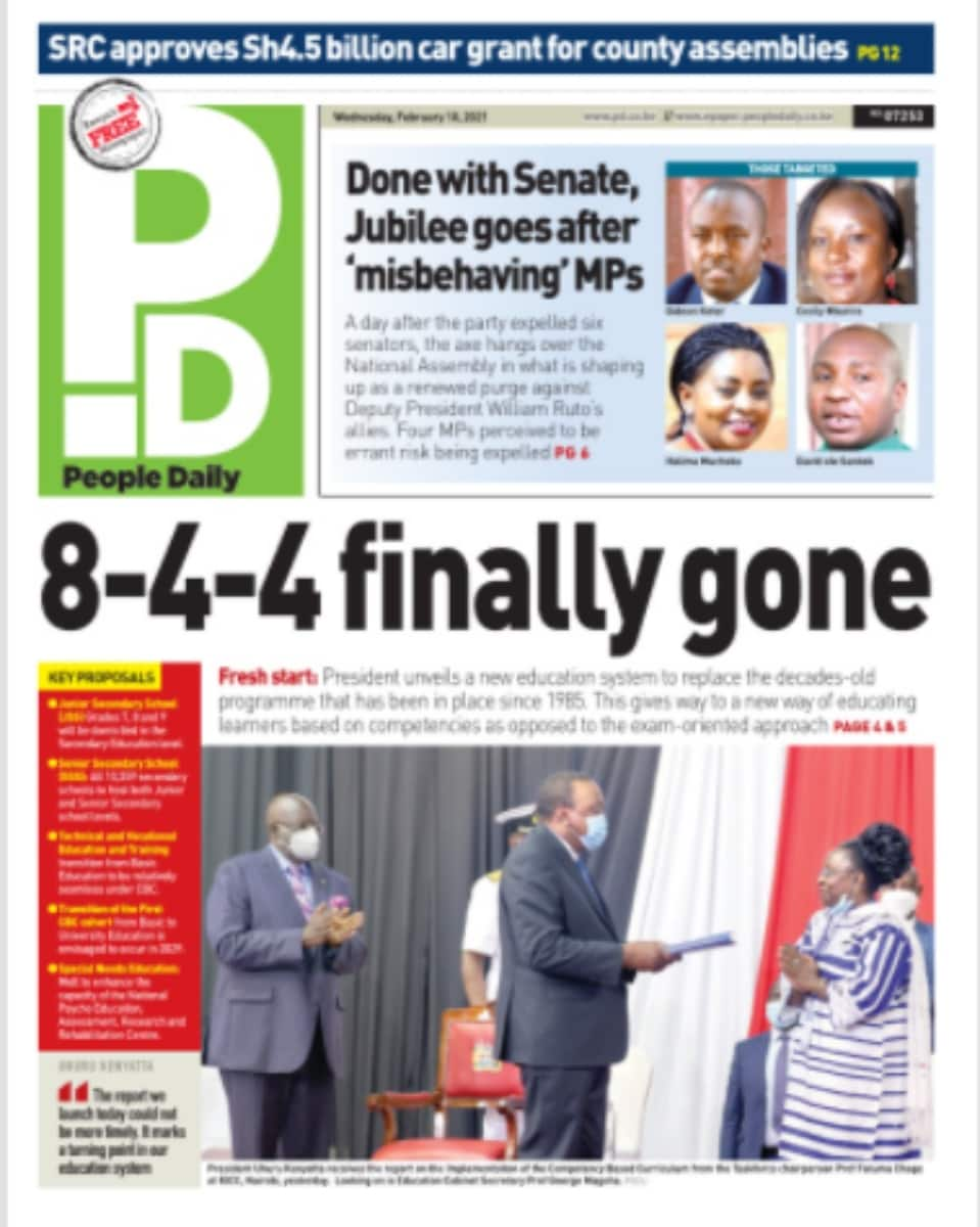 Magazeti ya Jumatano, Februari 10: Mjeledi wa Jubilee kuchapa wabunge wengine 4