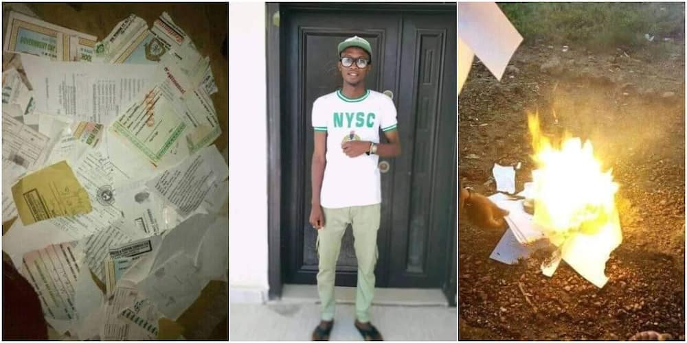 Frustrated graduate burns all his certificates after failing to secure a job