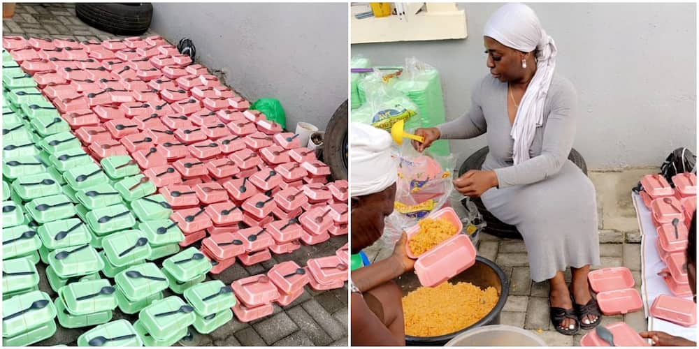 Young Nigerian Lady Takes Many by Surprise as She Cooks and Distributes Food to 325 Persons, Many React