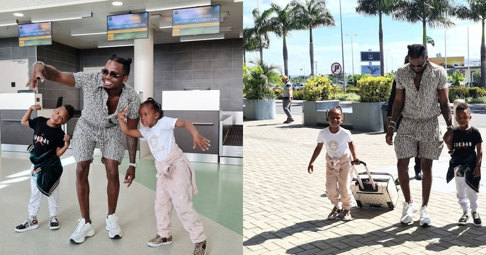 What a Father! Diamond Takes Kids, Zari to Airport After One Week Stay in Tanzania