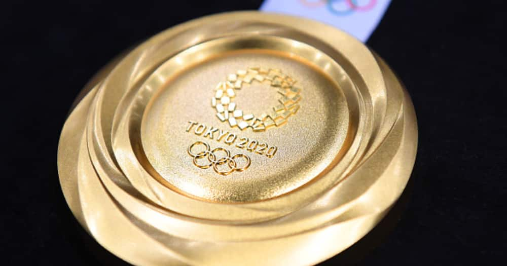 The gold medal is displayed after the Tokyo 2020 medal design unveiling ceremony at Tokyo International Forum on July 24, 2019 in Tokyo, Japan. (Photo by Atsushi Tomura/Getty Images).