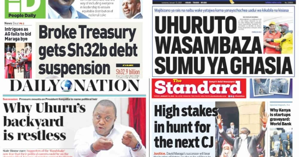 Kenyan newspapers review for January 12: Mount Kenya piling pressure on Uhuru to name successor