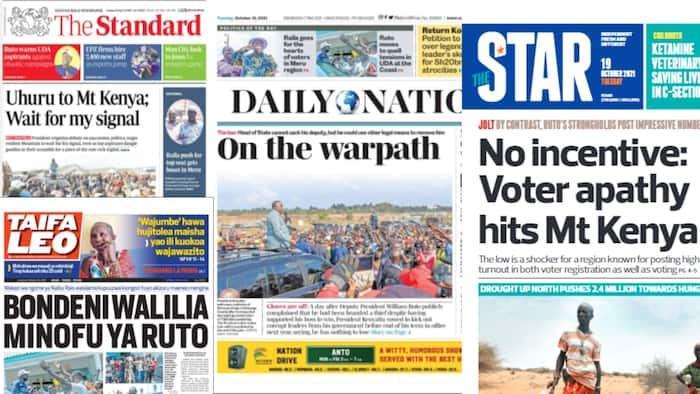 Newspapers Review for October 19: Disquiet in Ruto's Rift Valley Bastion as Youths Accuse Him of Ignoring Them