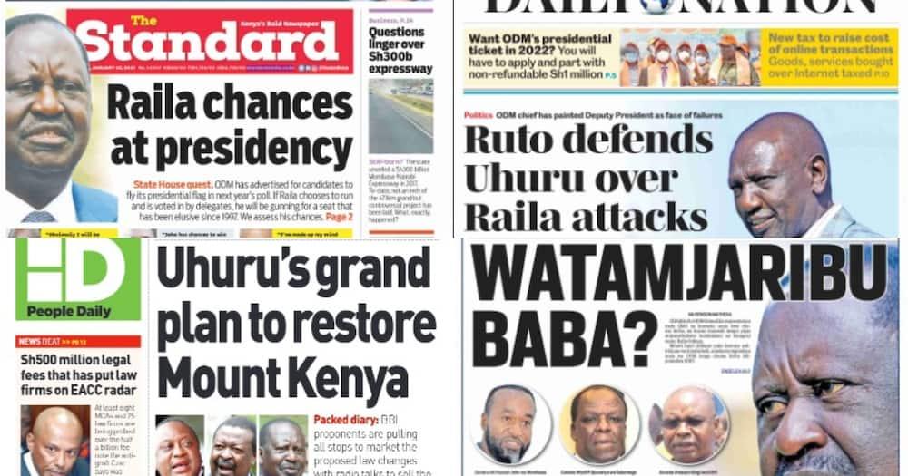 Kenyan newspapers review for January 25: Raila follows Uhuru footsteps, addresses Mount Kenya voters in vernacular station