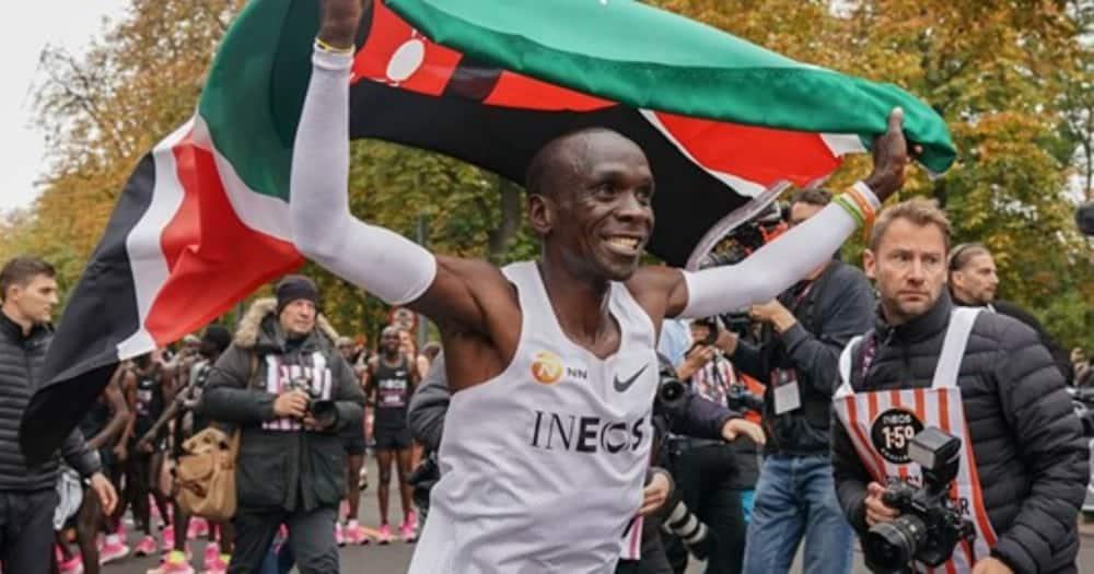Eliud Kipchoge after finishing a 42km race in Viena, Austria. Photo: INEOS