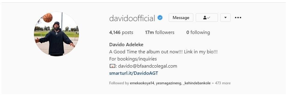 Nigeria singer Davido unfollows everybody on Instagram