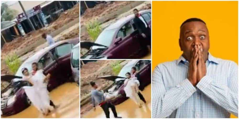 Social media reacts to video of couple in the mud as their car broke down on wedding day