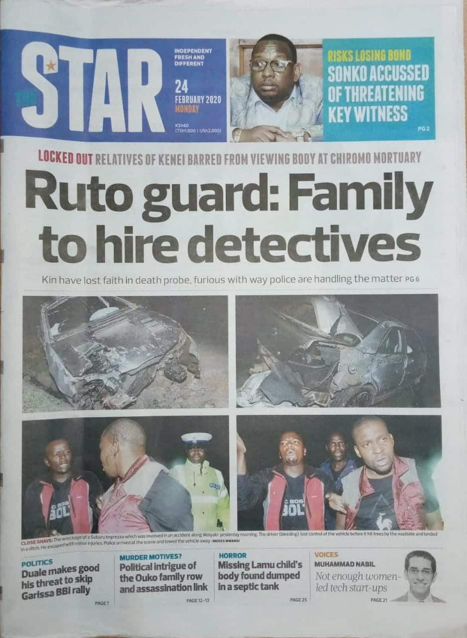 Kenyan newspapers review for February 24: Kipyegon Kenei's family to hire private detectives to probe officer's death