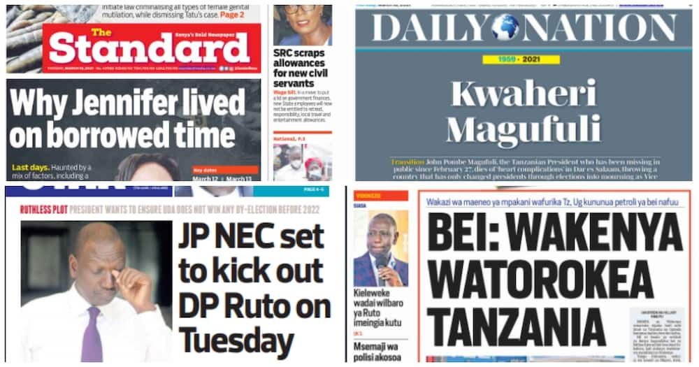 National dailies on Thursday, March 18. Photos: Taifa Leo, Nation, The Standard and The Star.