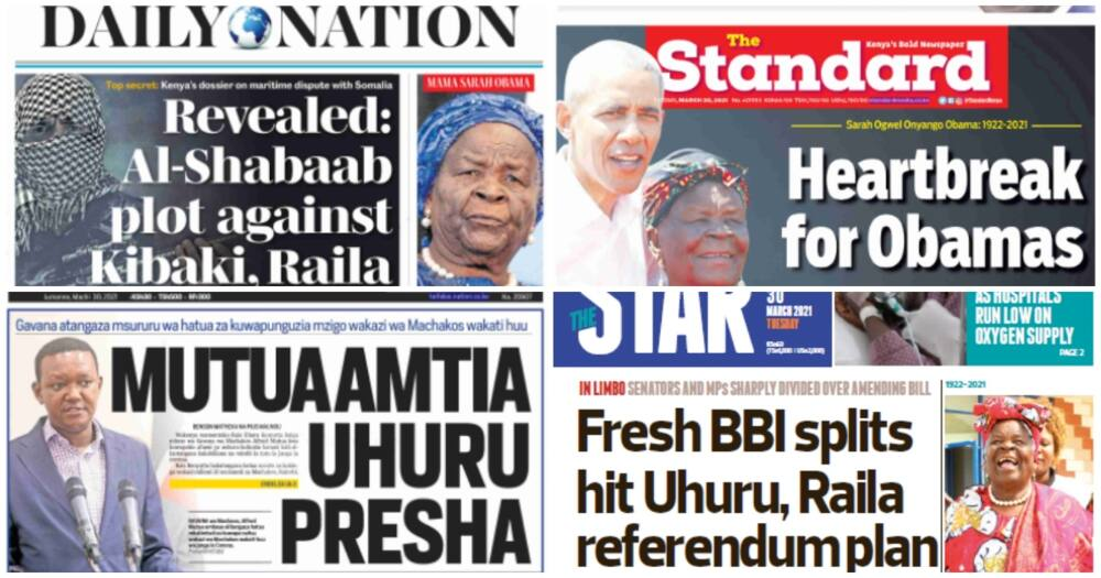 Kenyan newspapers for March 30. Photo: The Stanard, Daily Nation, The Star and Taifa Leo.