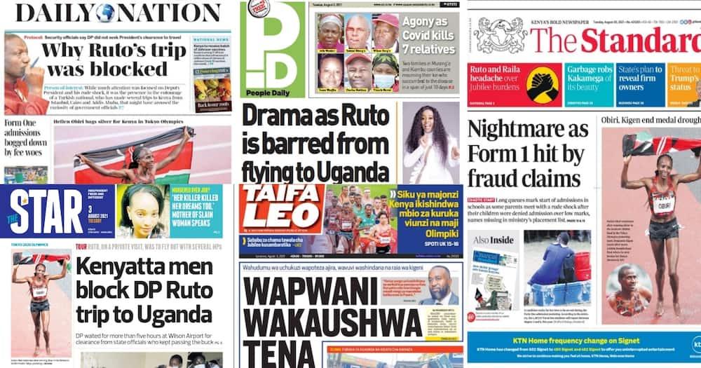 Magazeti Jumanne, Agosti 3: Sababu ya Ruto Kuzuiwa Kutangatanga Uganda