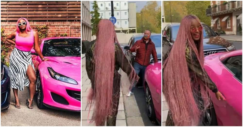 Moment DJ Cuppy walked in on man trying to take a quick photo with her Ferrari in London