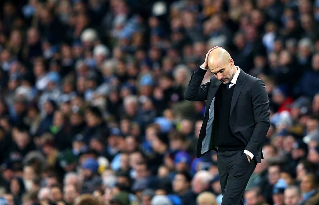 Guardiola reacts after Man City's surprise defeat by Crystal Palace at Etihad