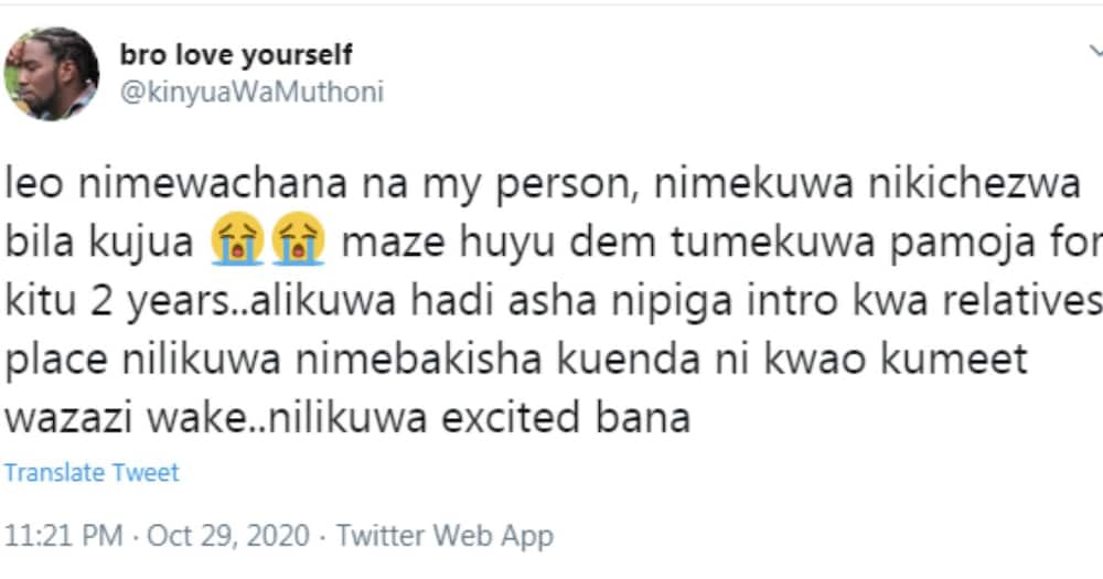 """Kenyan man painfully recounts how lover cheated on him with her """"cousin"""" for 2 years"""