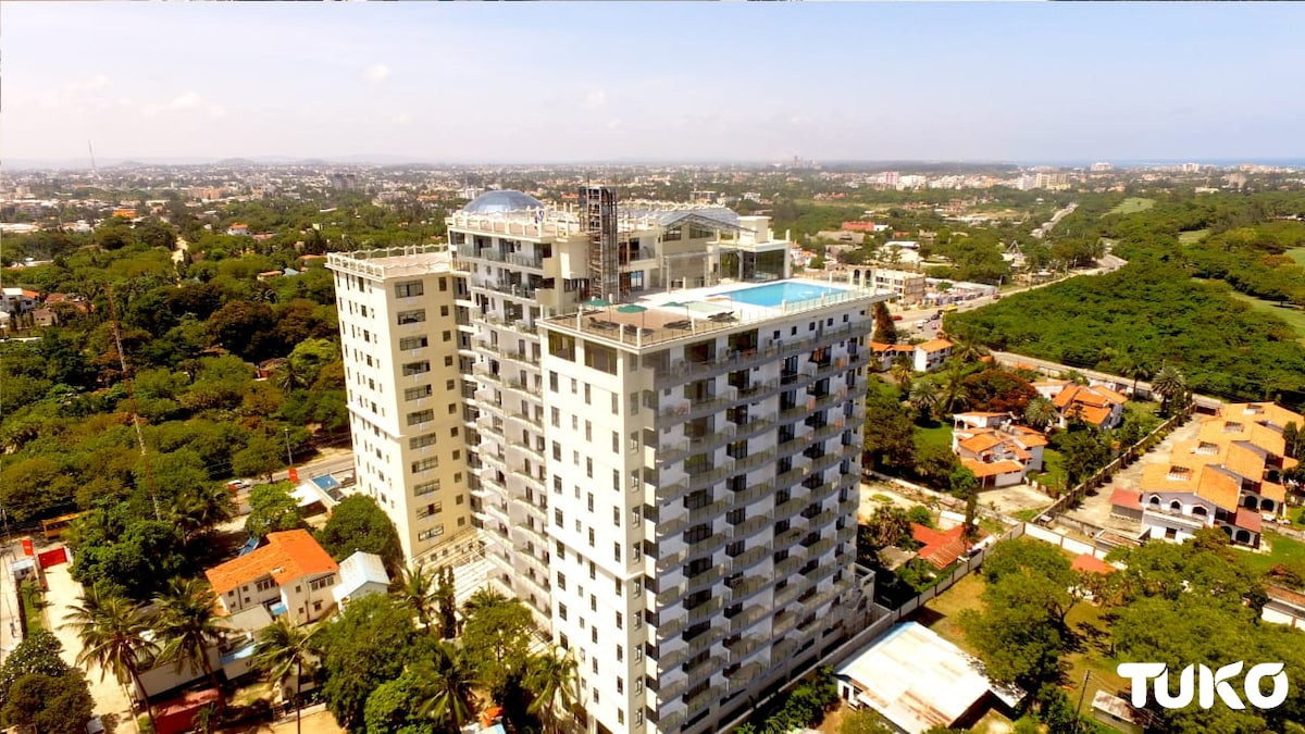 A view of Nyali estate's tallest high-end residential building that is the talk of town
