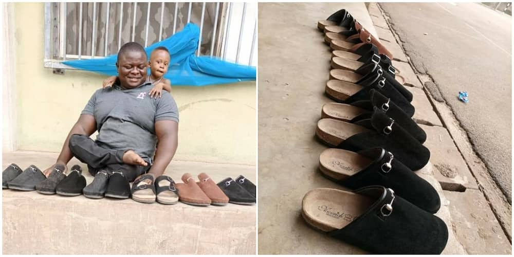 Crippled Nigerian Man Stuns the Internet with His Creative Skill, Makes Beautiful Shoes to Earn a Living