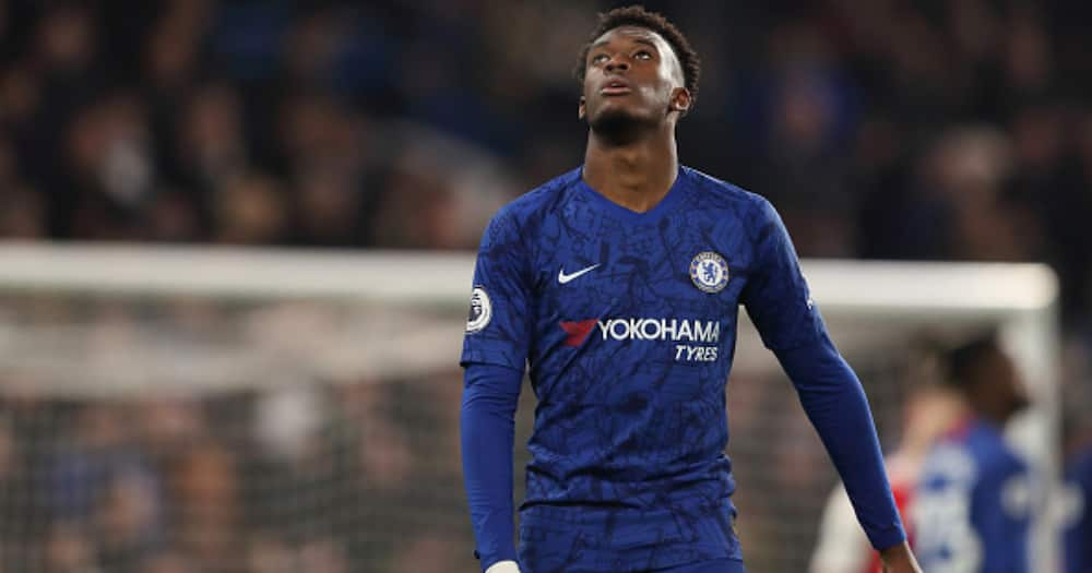 A dejected Callum Hudson-Odoi during a Premier League match between Chelsea and Arsenal at Stamford Bridge on January 21, 2020. Photo: James Williamson - AMA/Getty Images.
