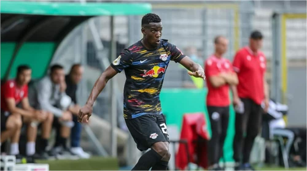 Nordi Mukiele of German club RB Leipzig while in action. Photo: Roland Krivec.