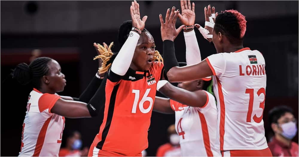 Malkia Strikers while in action against Serbia during the 2020 Tokyo Olympics. Photo: Twitter/@Olympicske.