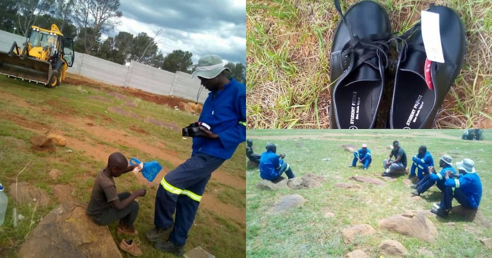 Local construction workers buy boy new school shoes