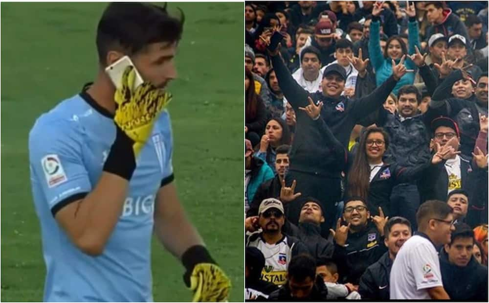 Bizarre scenes as player answers phone thrown at him by angry fans