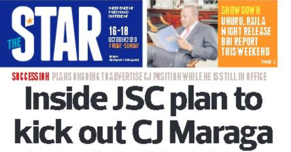 Kenyan newspaper review for October 16: JSC set to kick CJ Maraga out of office