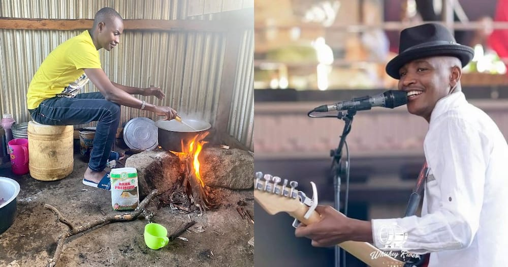 Samidoh excites fans with photo of himself cooking Ugali on 3 stones/in traditional kitchen