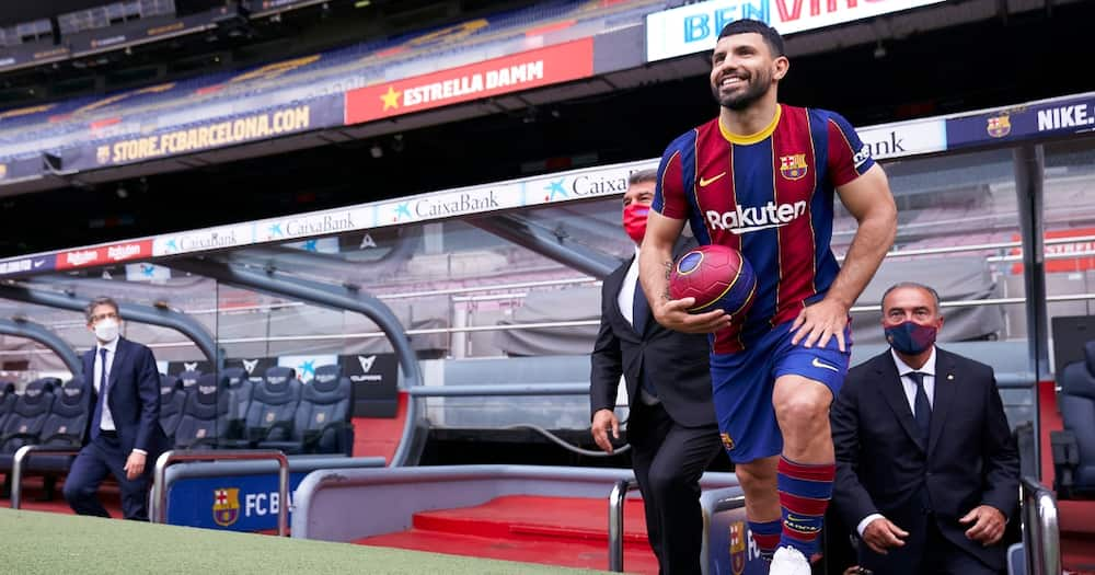Stunning first photos of Sergio Aguero in Barcelona colors emerge