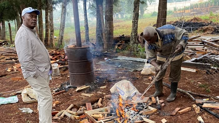"""William Kabogo's Photo with Elderly Man Making Fire Puzzles Netizens: """"Guess What's in the Making"""""""