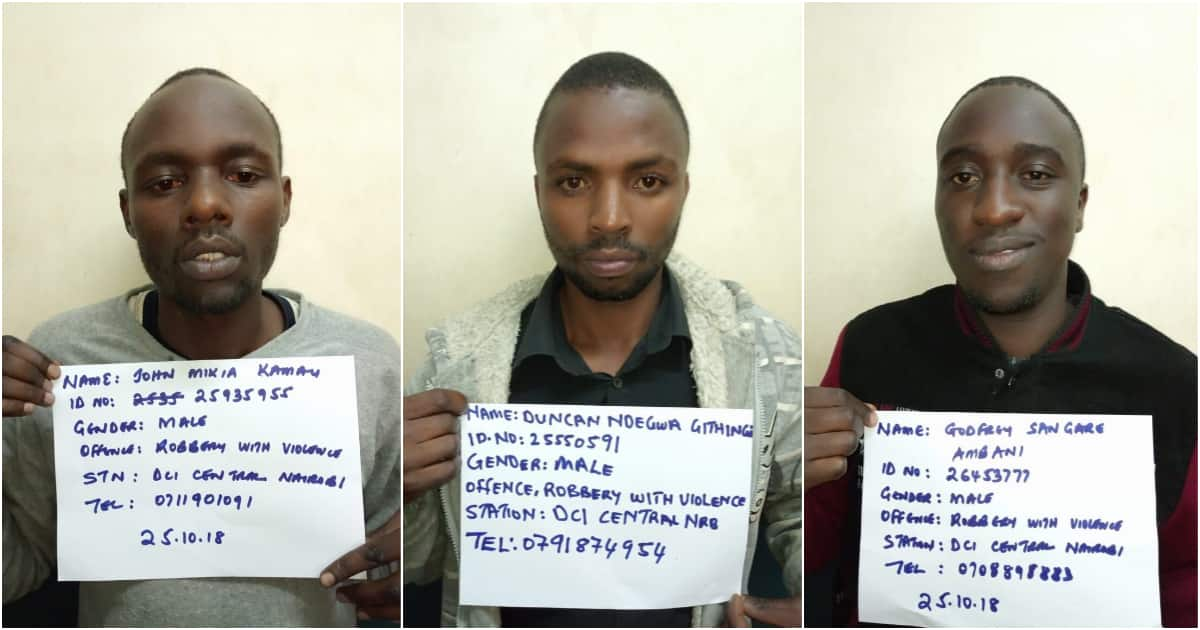 Police parade 3 notorious daylight muggers in Nairobi
