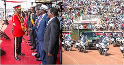 Raila, Mudavadi, Kalonzo, Wetangula appear in rare one meeting during Jamhuri Day celebration