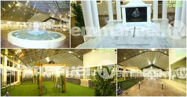 Photos of water fountain, indoor garden, AC units at TB Joshua's presidential burial ground.