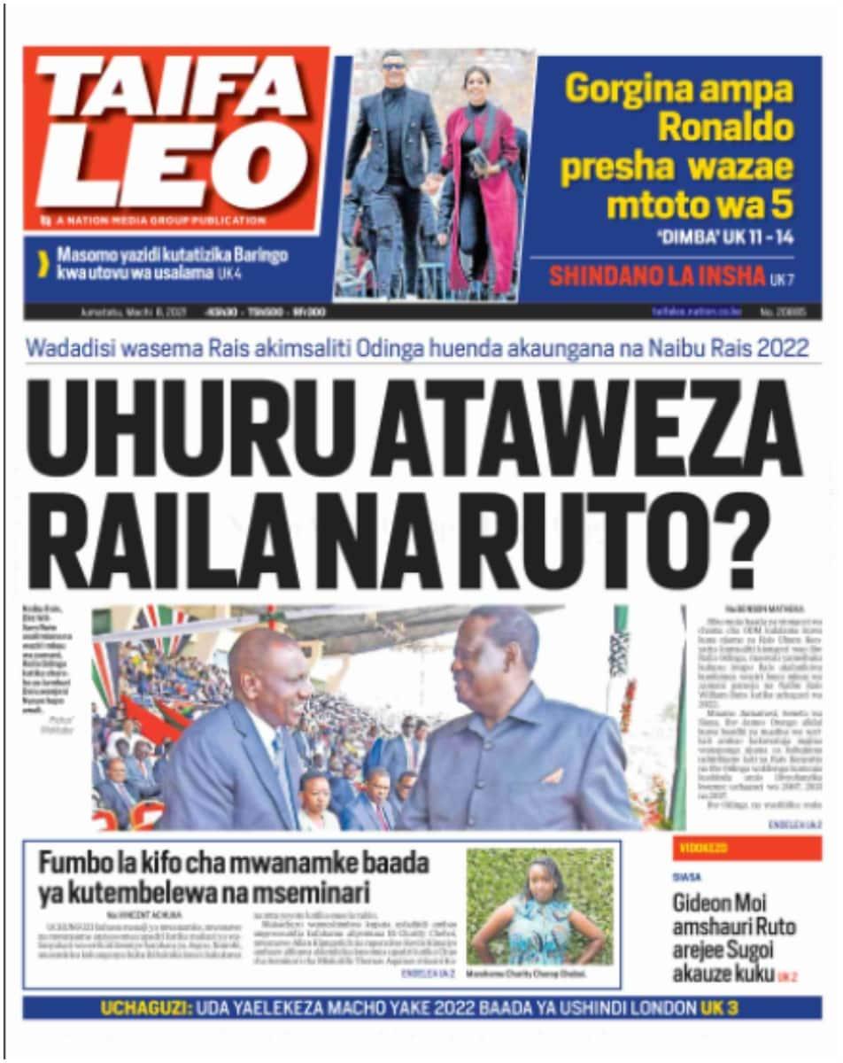 Taifa Leo newspaper for March 8. Photo: UGC