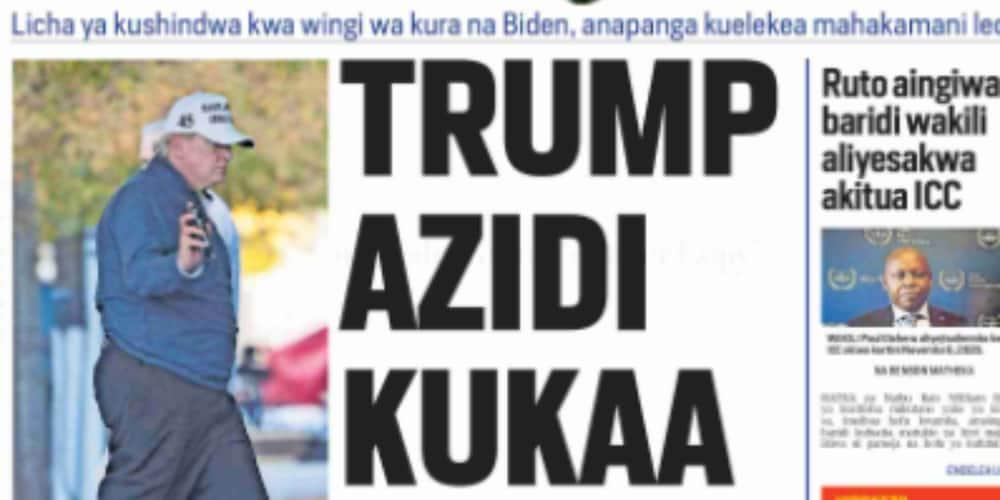Kenyan newspaper review for November 9: Photo: Taifa Leo