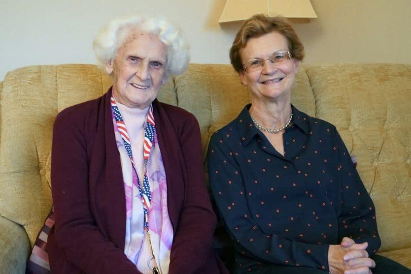 Marget (Left) with daughter Christine after they met 69 years later Photo: Mirror/Solent news