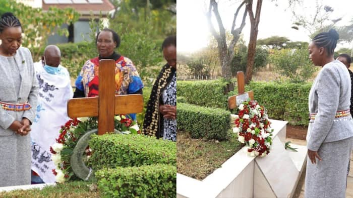 """Defence CS Monica Juma Visits Joseph Nkaissery's Grave 4 Years after His Death: """"Our Motherland Misses You"""""""