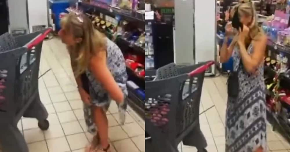 Haibo: Lady Takes off Underwear in Grocery Store, Wears It as a Mask