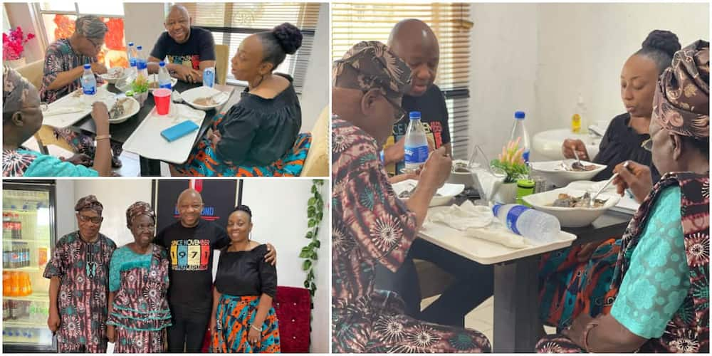 Cute photos emerge as married Nigerian man takes his old parents for lunch date, gets many talking