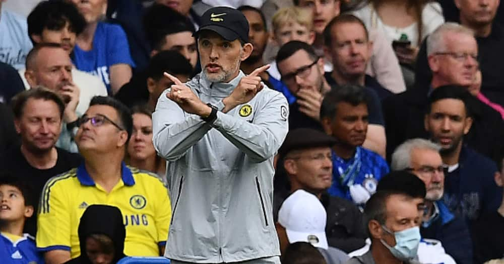Thomas Tuchel gestures during Chelsea's Premier League meeting with Man City. Photo: Getty Images.