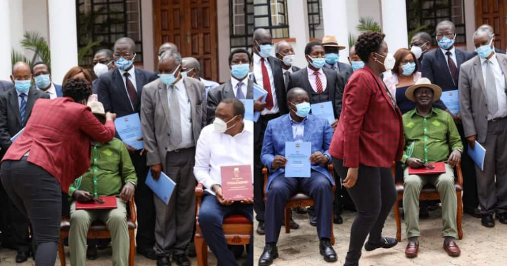 Daddy's girl: Winnie Odinga lovingly fixes Raila's hat before photoshoot