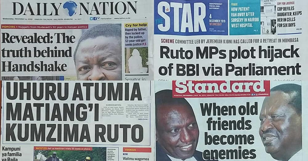 Kenyan newspapers review for December 4: Mudavadi says handshake was informed by ODM financial woes, cancellation of Raila's visa