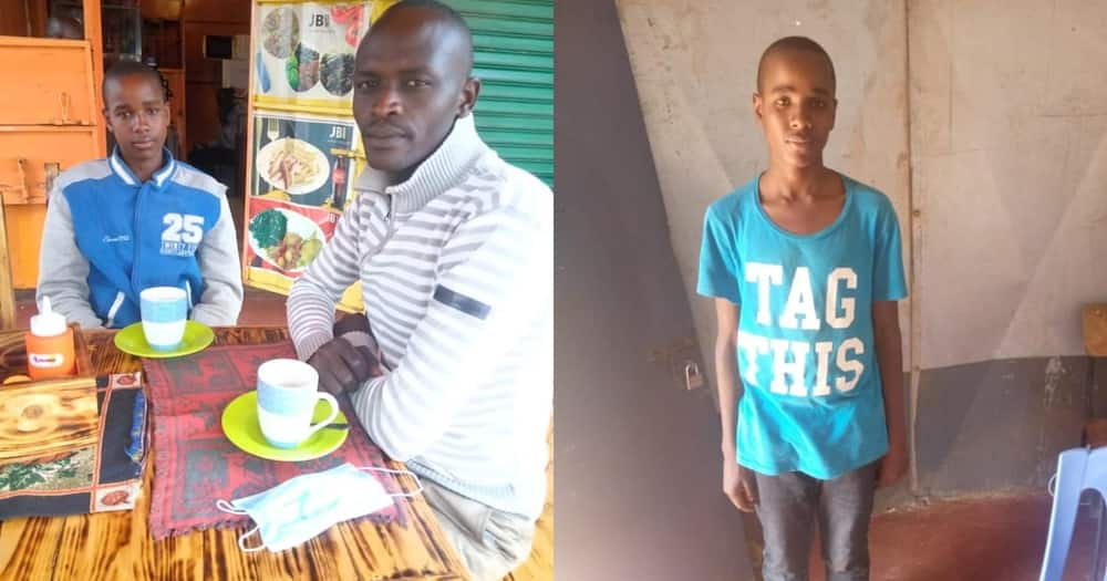 A 15-year-old Lameck Nyangenya with Menye Lemayian Emmanuel.