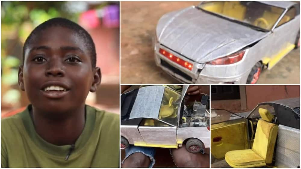 The young boy made a Lamborghini 2021 toy can in 1 month and two days. Photo: BBC News Pidgin.